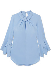 Twist-front silk crepe de chine blouse