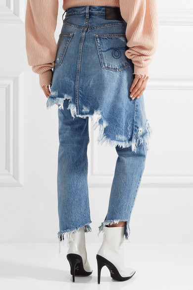 R13 Double Classic halbhohe Distressed-Jeans mit geradem Bein
