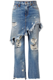R13 Double Classic distressed mid-rise straight-leg jeans
