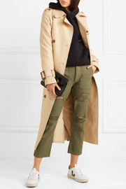 Bowie cropped distressed cotton-twill straight-leg pants