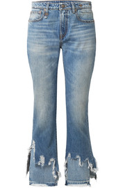 R13 Cropped distressed mid-rise flared jeans