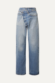 Crossover asymmetric high-rise straight-leg jeans