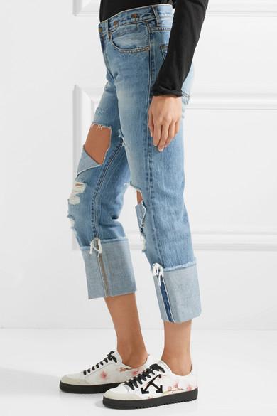 R13 Bowie verkürzte, halbhohe Jeans mit geradem Bein in Distressed-Optik