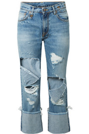R13 Bowie cropped distressed mid-rise straight-leg jeans
