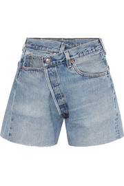 Crossover aymmetric denim shorts