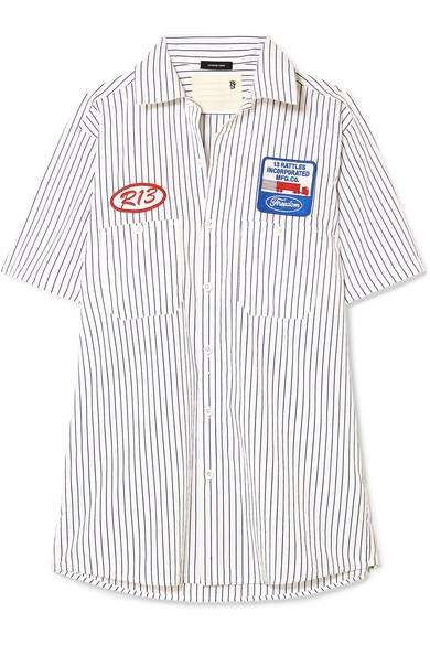 R13 Hemd aus gestreifter Baumwollpopeline mit Applikationen