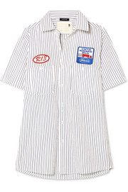 R13 Appliquéd striped cotton-poplin shirt