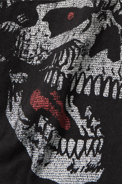 R13 Bedrucktes T-Shirt aus einer Baumwoll-Kaschmirmischung