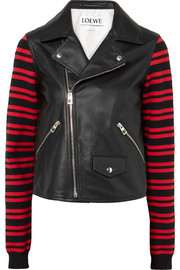 Leather and striped wool-blend biker jacket