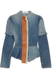 Loewe Leather-trimmed denim peplum jacket