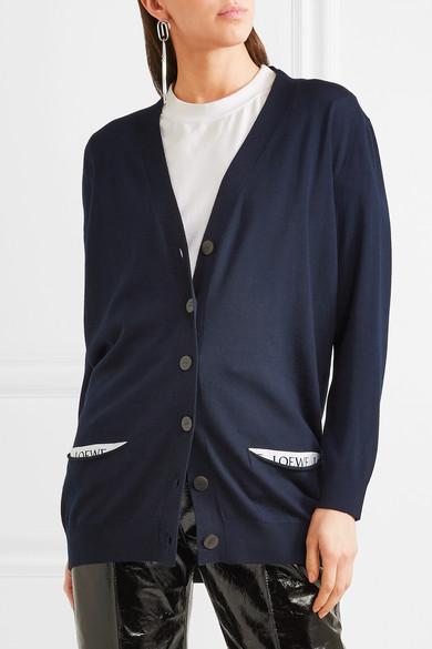 Loewe Cardigan aus einer Wollmischung mit Jacquard-Besatz
