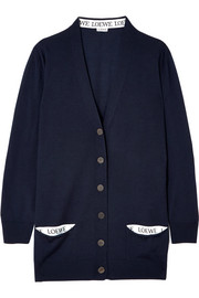 Jacquard-trimmed wool-blend cardigan