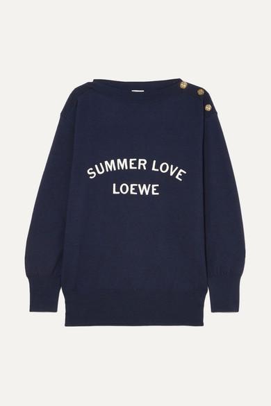 Loewe Bestickter Pullover aus einer Wollmischung