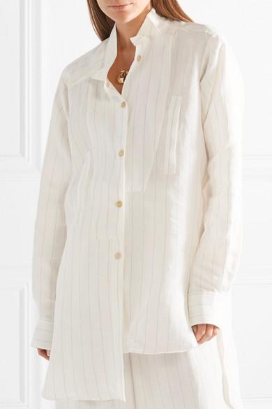 Loewe Asymmetrisches Oversized-Hemd aus einer Leinenmischung mit Streifen
