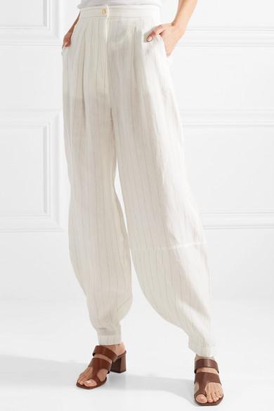 Loewe Gestreifte Hose mit weitem Bein aus einer Leinenmischung