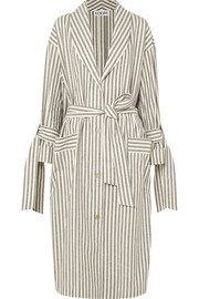 Striped slub cotton coat