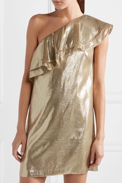 Rachel Zoe Marina Minikleid aus Metallic-Jacquard aus einer Seidenmischung mit asymmetrischer Schulterpartie und Rüschen