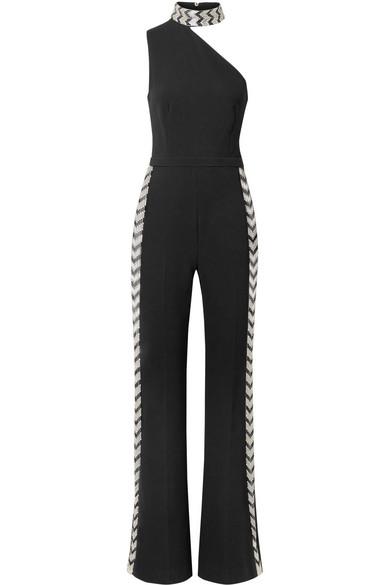 Rachel Zoe Fletcher verzierter Jumpsuit aus Stretch-Crêpe mit asymmetrischer Schulterpartie
