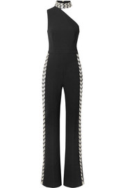 Fletcher one-shoulder embellished stretch-crepe jumpsuit