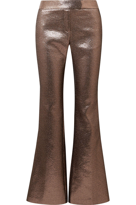 Rachel Zoe Bruno grosgrain-trimmed metallic jacquard flared pants