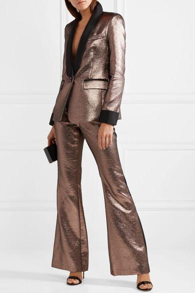 Rachel Zoe Bruno ausgestellte Hose aus Metallic-Jacquard mit Ripsbandbesätzen