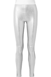 Kalia paneled striped metallic stretch leggings