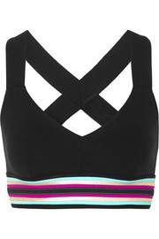 No Ka'Oi Ola striped stretch sports bra