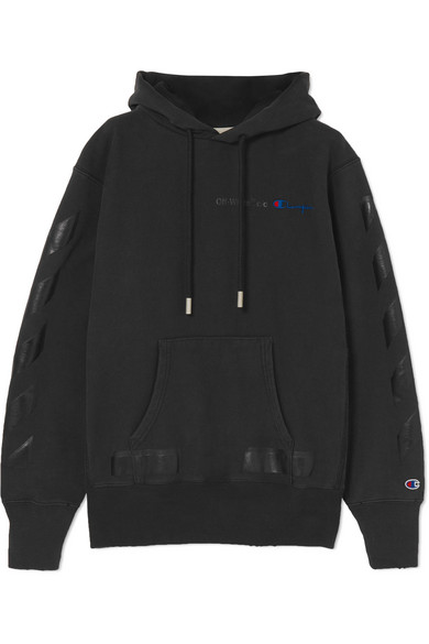 Off-White - Champion Oversized Printed Hooded Top - Black