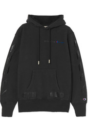 Off-White + Champion oversized printed hooded top