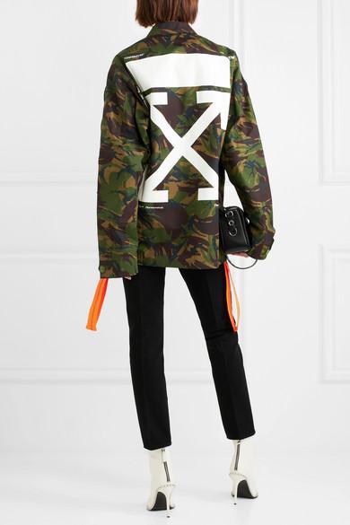 Off-White Bestickte Jacke aus Baumwoll-Canvas mit Camouflage-Print und Applikationen