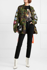 Appliquéd embroidered camouflage-print cotton-canvas jacket
