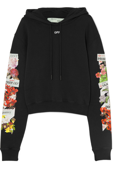 Off-White - Printed Cotton-jersey Hooded Top - Black