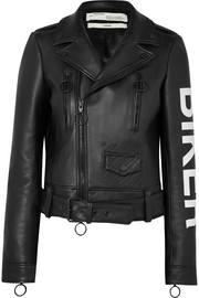 Printed leather biker jacket