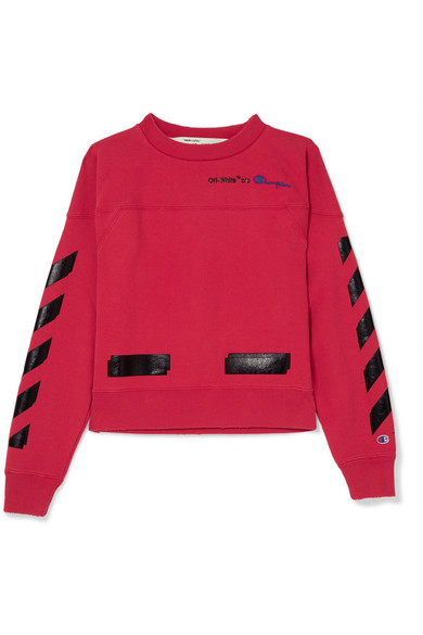 Off-White - Champion Printed Cotton-blend Jersey Sweatshirt - Red