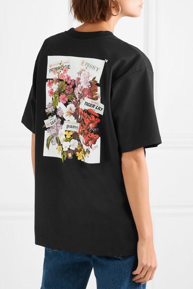 Off-White Bedrucktes Jersey-T-Shirt aus einer Baumwollmischung