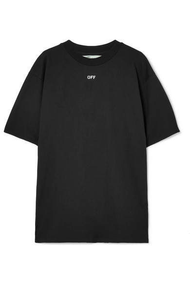 Off-White - Printed Cotton-blend Jersey T-shirt - Black