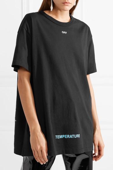 Off-White Bedrucktes T-Shirt aus Baumwoll-Jersey in Oversized-Passform
