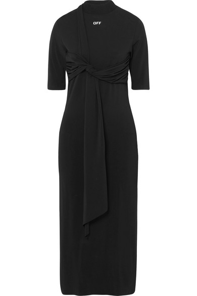 Off-White - Knotted Jersey Dress - Black
