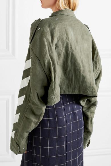Off-White Verkürzte Jacke aus bedrucktem Leinen