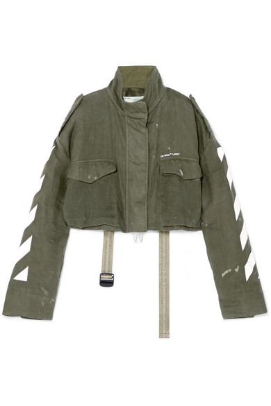 Off-White - Cropped Printed Linen Jacket - Army green