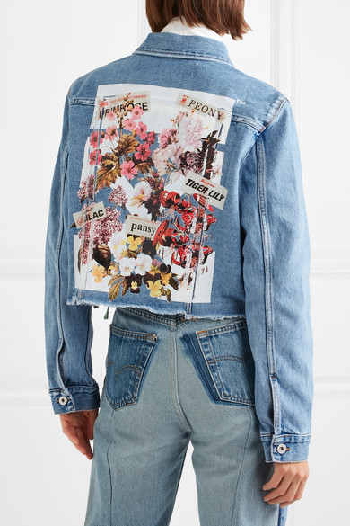 Off-White Bedruckte Jeansjacke in Distressed-Optik