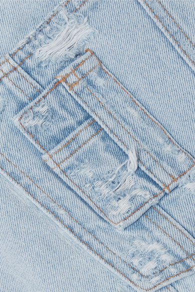 Off-White Jeans-Latzhose in Distressed-Optik