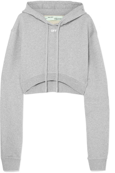 Off-White - Cropped Mélange Cotton-jersey Hooded Top - Gray