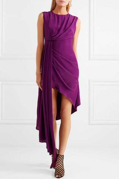Off-White Asymmetrisches Kleid aus Georgette mit Print Ausgezeichnet Zum Verkauf YQdcQXUoh