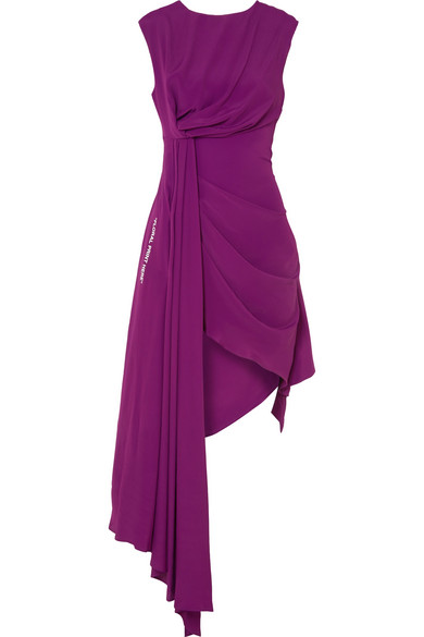 Off-White - Asymmetric Printed Georgette Dress - Plum
