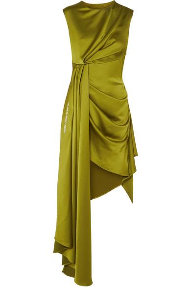 Off-White - Asymmetric Printed Satin Dress - Sage green