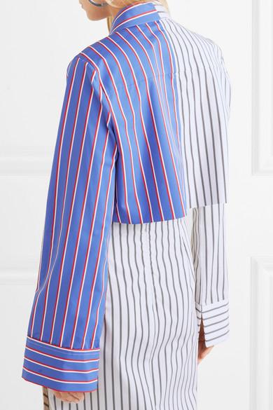 Off-White Verkürztes Hemd aus gestreiftem Baumwoll-Twill