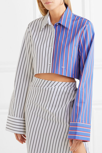 05677f1c82c3 Off-White. Cropped striped cotton-twill shirt