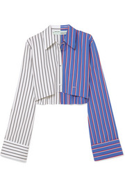 Cropped striped cotton-poplin shirt