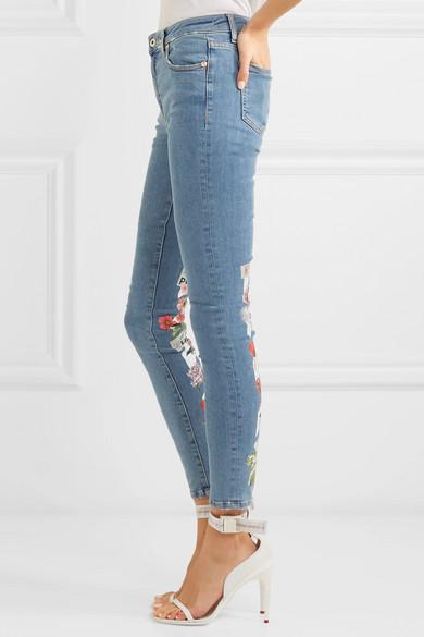 Off-White Halbhohe Skinny Jeans mit Print